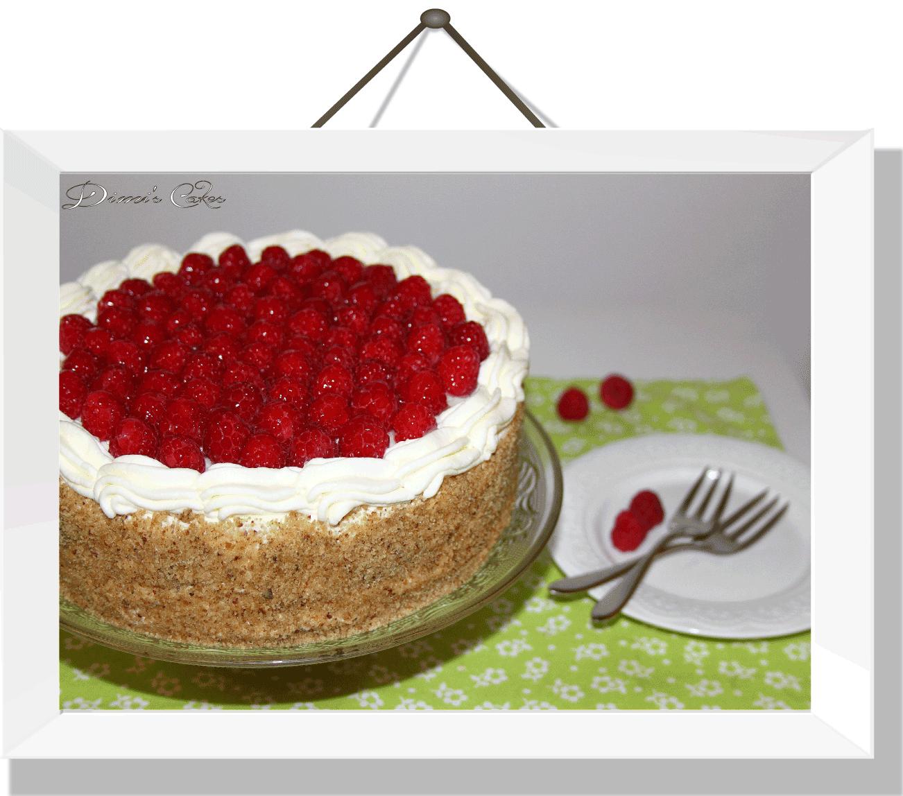 Gâteau-de-printemps-avec-des-framboises-fraîches