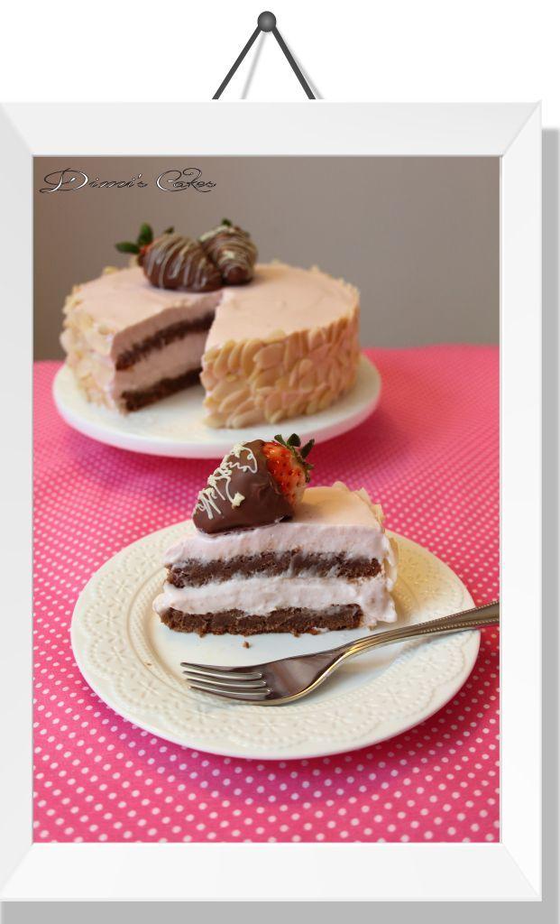 Gâteau-avec-mousse-à-la-fraise